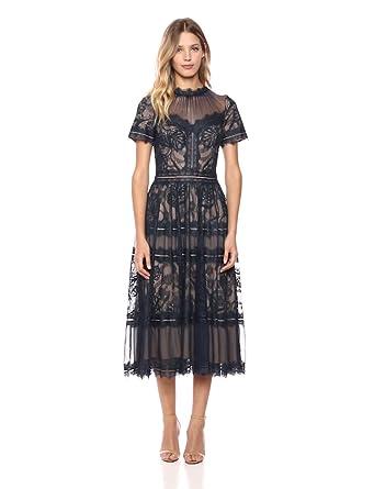 6a250ad1f2c Tadashi Shoji Women s Short Sleeve Lace Midi Dress at Amazon Women s ...