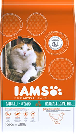 IAMS Proactive Health Adult Hairball Control Rich In Chicken Comida para Gatos - 10000 gr: Amazon.es: Productos para mascotas