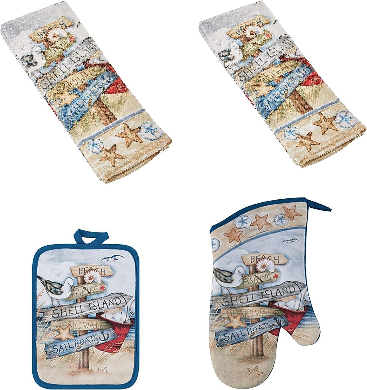 Kay Dee 4 Piece Kitchen Set - 2 Terry Towels, Oven Mitt, Potholder (Beach Signs)