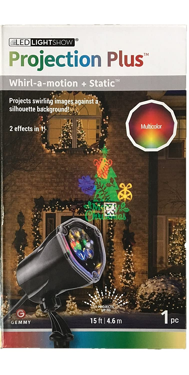 Multicolor Projection Plus Whirl-a-motion Merry Christmas Gemmy Static