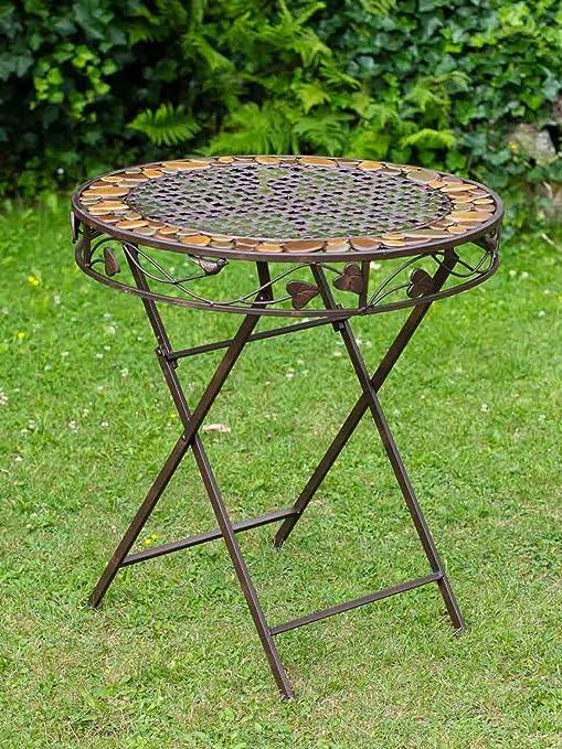 Hierro Mesa de Hierro Forjado de Estilo Antiguo mobiliario de jardín de Piedra: Amazon.es: Jardín