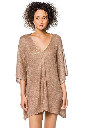 00b8f065560 Amazon.com: BCBG Max Azria Women's Luxe Cover Sheer V-Neck Tunic Swim Cover  Up Gold One: BCBG Max Azria: Clothing