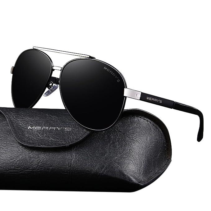 9019e0dff30e MERRY S Classic Men Pilot Sunglasses HD Polarized Luxury Brand Design  Aluminum Driving Sun glasses S8628 (