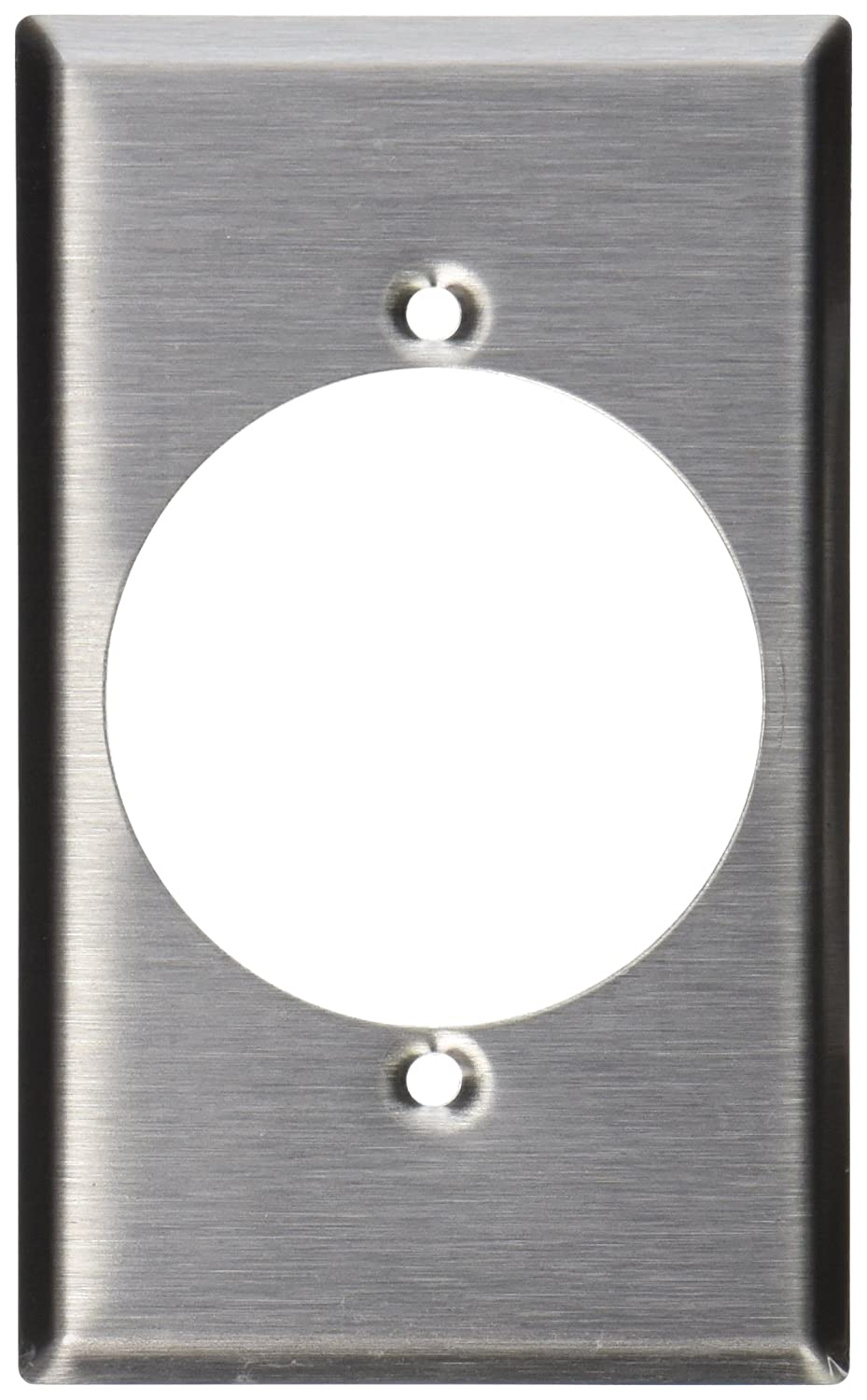 Leviton 003-84028 Receptacle Standard Size Wall Plate, 1 Gang, 4-1/2 In L X 2-3/4 In W 0.187 In T, Smooth, Stainless steel