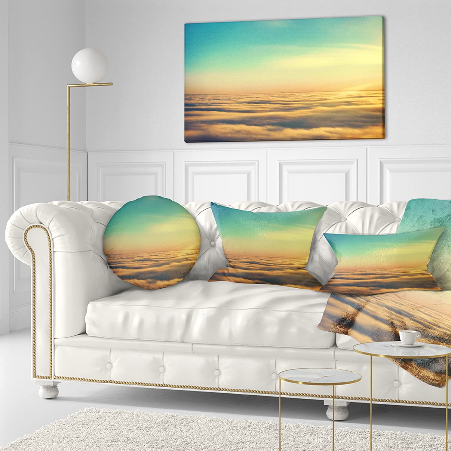 Sofa Throw Pillow 20 Insert Printed On Both Side Designart CU10967-20-20-C Amazing Plane View of Sky Oversized Beach Round Cushion Cover for Living Room