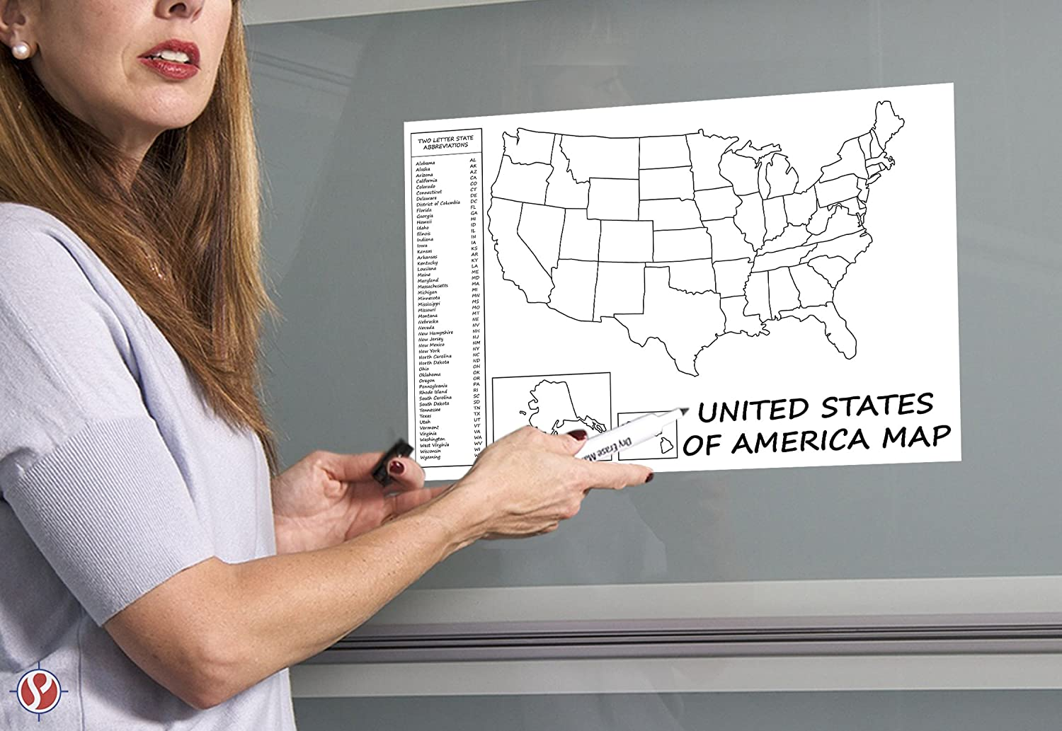 United States Map - USA Poster, US Educational Map - with State 2 ...