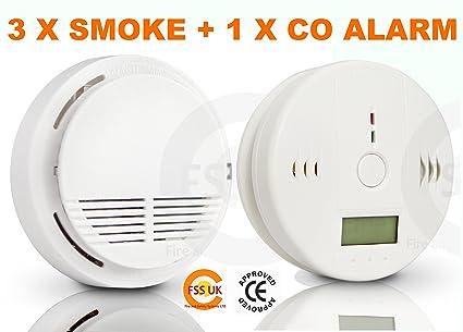 FSS UK - Conjunto de seguridad anti-incendios para el hogar con 3 detectores de humo + ...