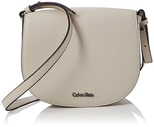 Calvin Klein - Metropolitan Saddle Bag, Bolsos bandolera Mujer, Gris (Cement/Off