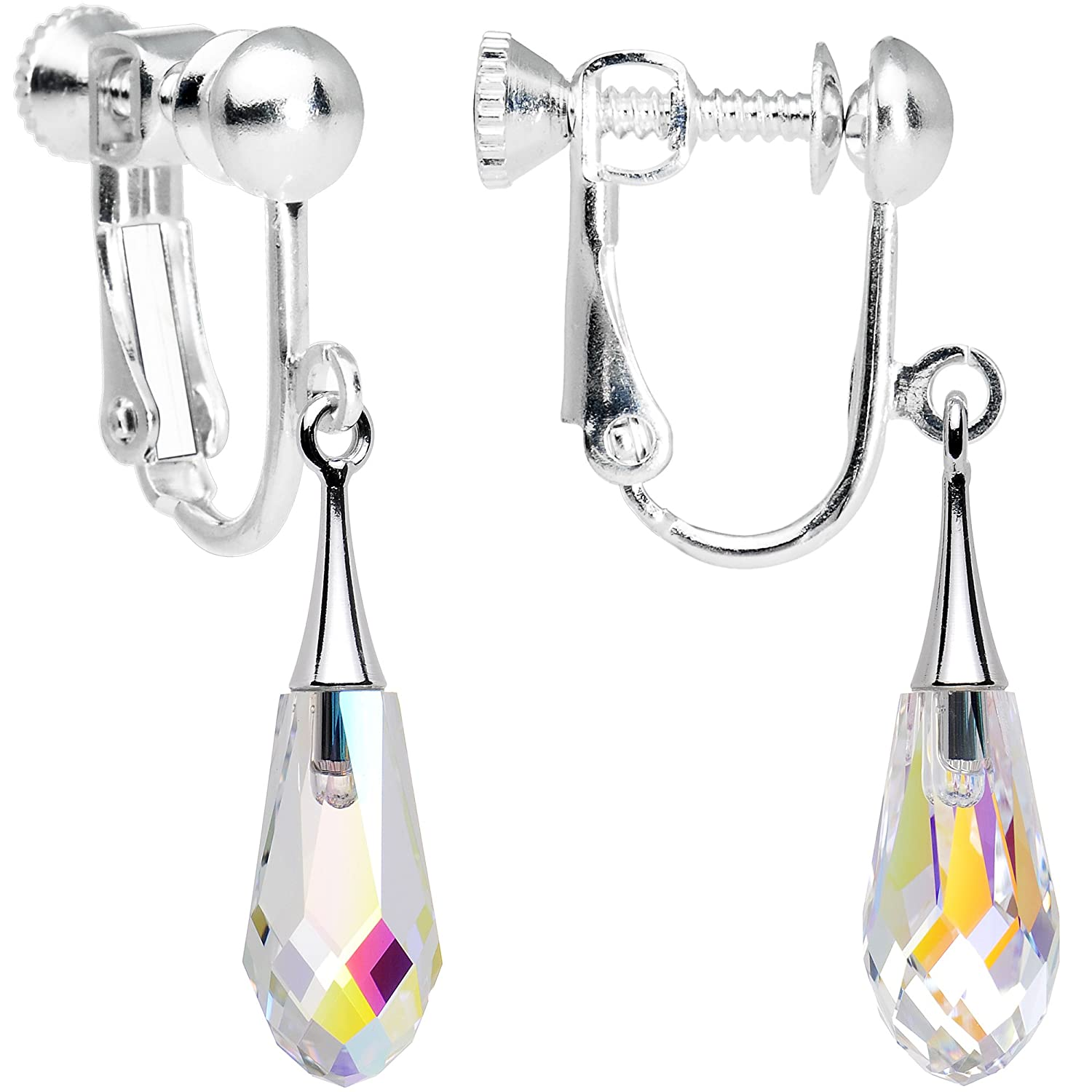 Body Candy Handcrafted Silver Plated Clear Teardrop Clip On Earrings Created with Swarovski Crystals HC-6077