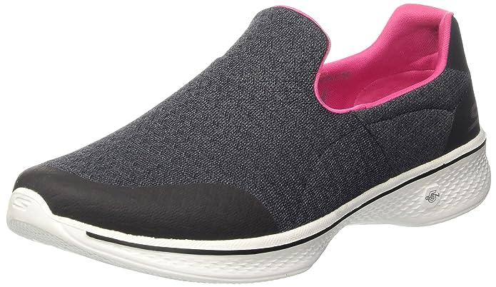 Skechers Go Walk 4, Zapatillas sin Cordones para Mujer, Negro (Black/Hot Pink), 38.5 EU