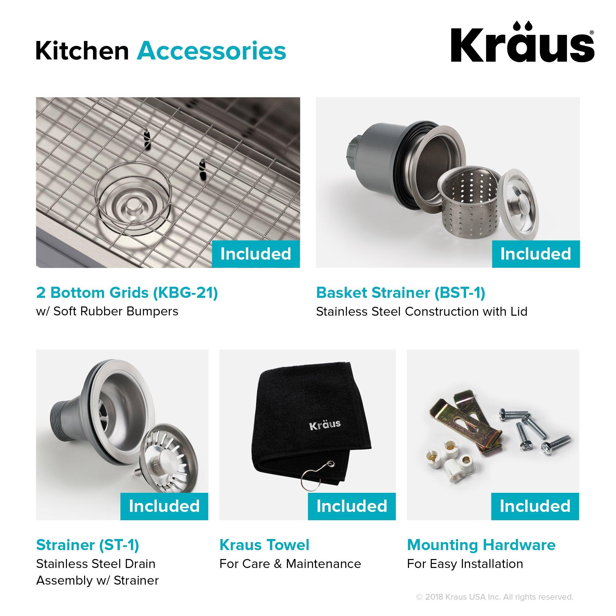 Kraus KBU21 30 inch Undermount 60/40 Double Bowl 16 gauge Stainless Steel Kitchen Sink by Kraus (Image #10)