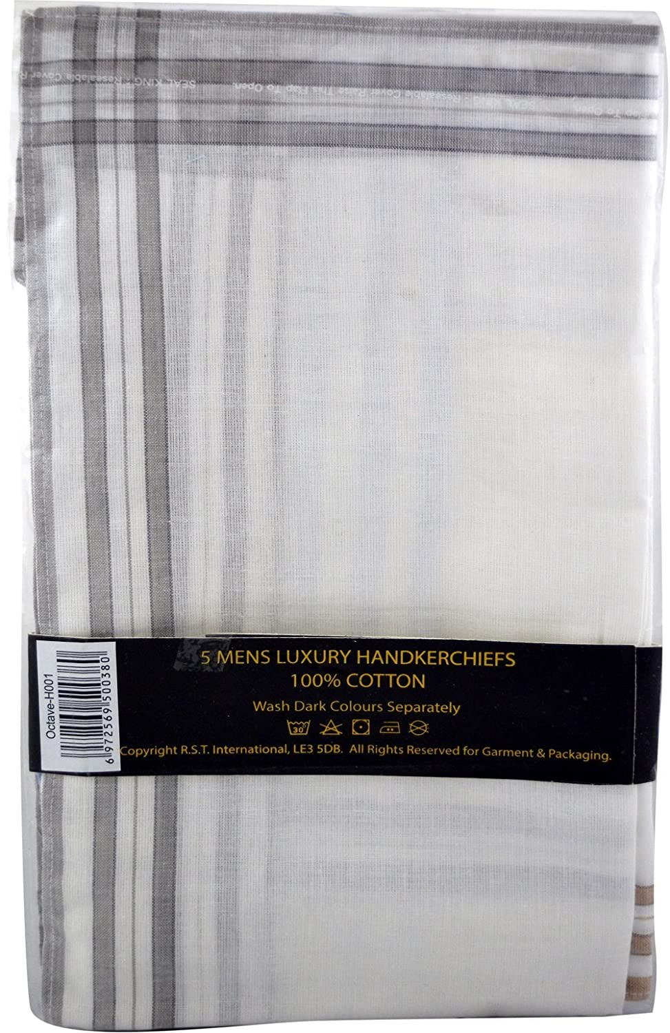 Mens Poly//Cotton White Handkerchiefs Pack of 10 with Imprinted Border Detail. Hankies