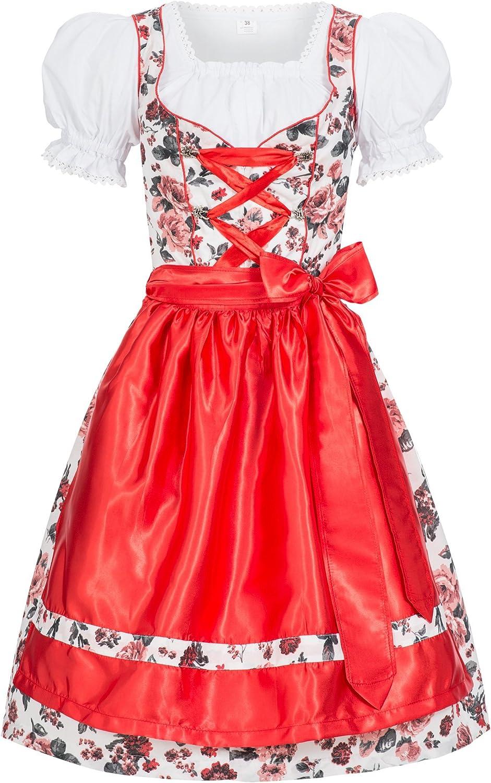Sch/ürze rot Leuchtend Trachtenkleid Sedi Gaudi-Leathers Dirndl Set 4tlg B/üstenhebe BH Push Up Dirndlbluse Marke