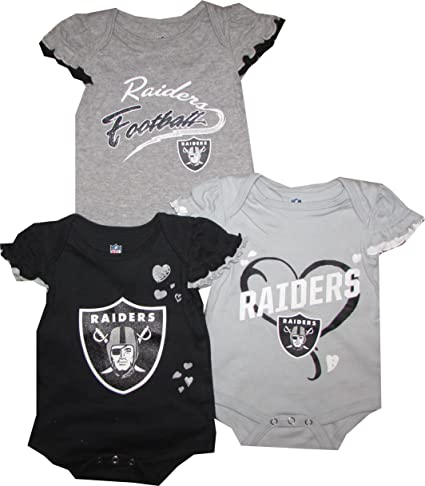 fad7b811f Oakland Raiders GIRLS 3pc Creeper Set Team Colors Infant Baby (0-3 Months)