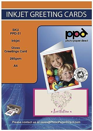 Ppd inkjet gloss greeting card paper super heavyweight a4 to a5 ppd inkjet gloss greeting card paper super heavyweight a4 to a5 260gsm with envelopes x 50 m4hsunfo