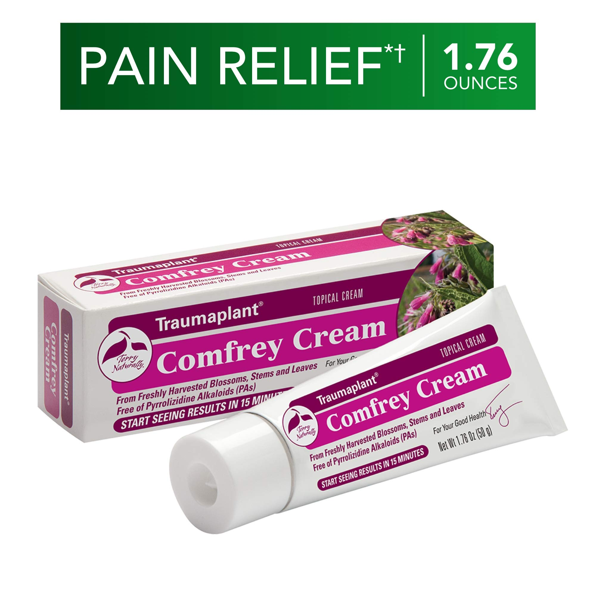 Terry Naturally Traumaplant Comfrey Cream - 1.76 oz (50 g) - Non-Staining Topical Botanical Pain Relief, Free of Toxic Pyrrolizidine Alkaloids (PAs) & Parabens - for External Use Only
