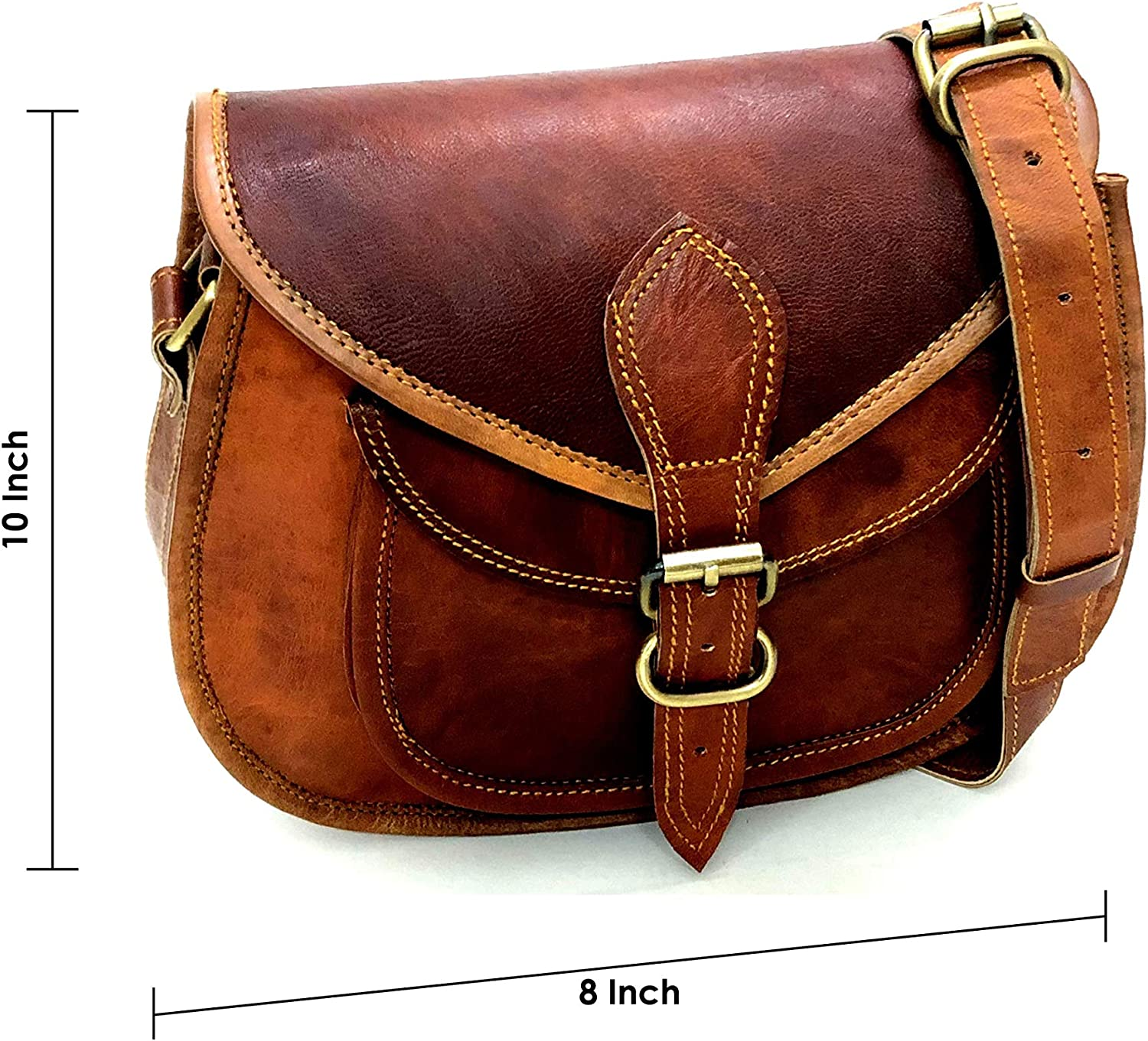 Real leather vintage ladies bag goat hide handbag tote from india for girls