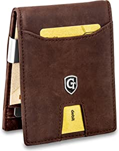 GenTo® Singapore Billetero de Caballero con Clip para Billetes y Compartimento para Monedas - Certificado RFID, protección NFC Design Germany