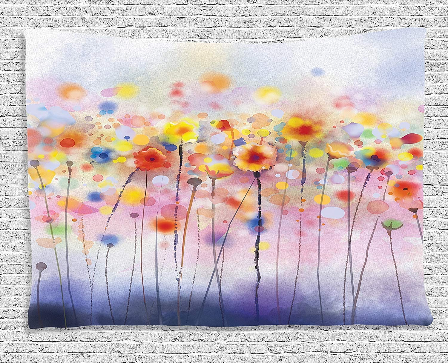 "Ambesonne Watercolor Flower Tapestry, Flowers in Soft Colors Dreamy Abstract Colorful Blurred Display, Wide Wall Hanging for Bedroom Living Room Dorm, 80"" X 60"", Orange Purple"