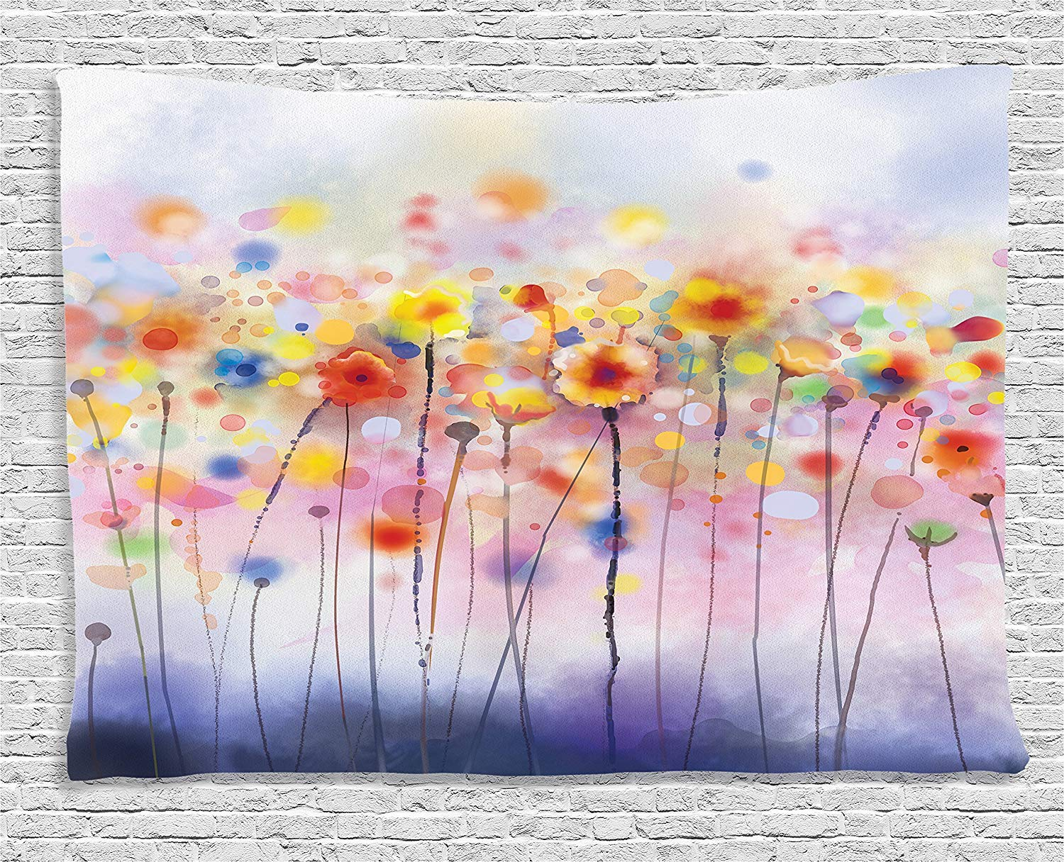 80W X 60L Inch Flowers In Soft Colors Floral Design Colorful Blurred Background Bedroom Living Room Dorm Wall Hanging Tapestry Ambesonne Watercolor Flower Decor Collection