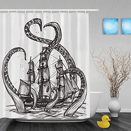 Vintage Hand Drawn Shower Curtain Sketch Mollusc Octopus And Pirate Ship Bathroom Curtains Waterproof