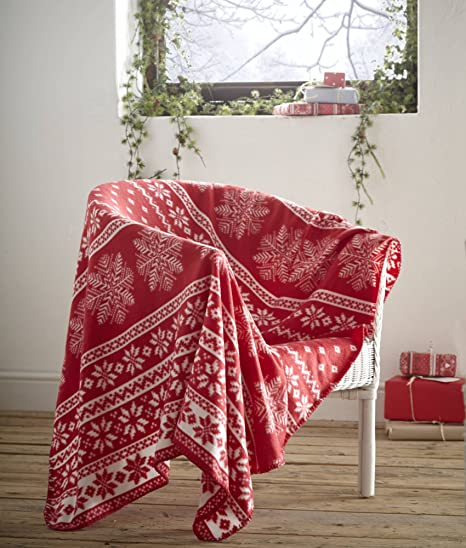 Fleece Blanket Alpine Red Nordic Christmas Snowflake Theme Throw Unique Christmas Fleece Throws Blankets