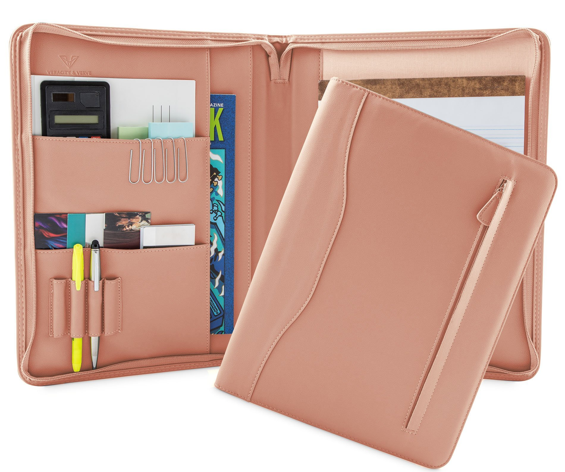 Professional PU Leather Padfolios Business Portfolio Document Organizer & Holder Padfolio Case for Notepads,Pens,Phone,Documents,Business Cards Blush Pink
