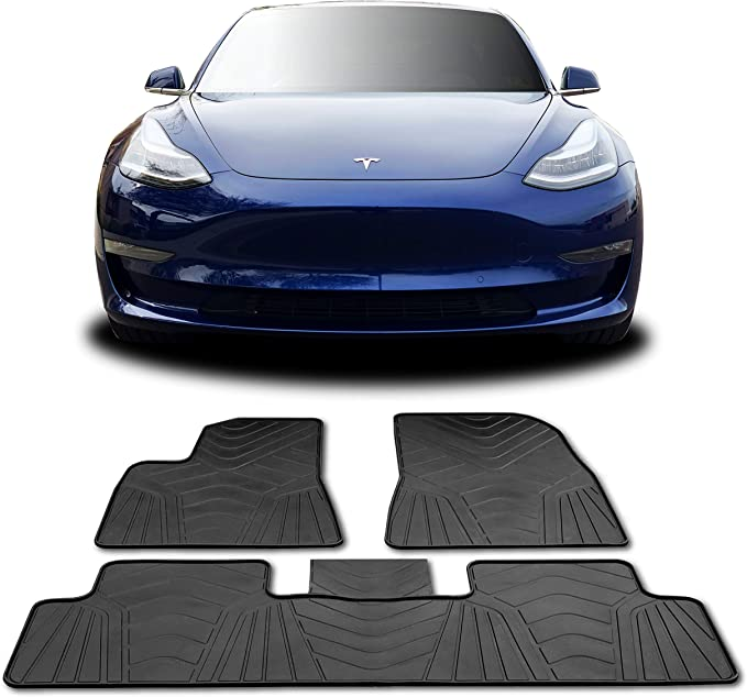 Durable Not Deformed- Heavy Duty // 3 Piece Set,LHD For Tesla Model 3 HEWXWX RHD//LHD Floor Mats TPR Rubber//Largest Coverage Non Slip All-Weather
