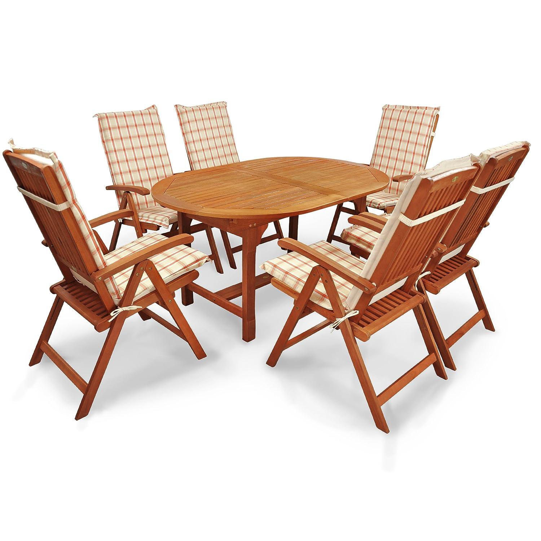 indoba® IND-70310-SSSE7 + IND-70410-AUHL - Serie Sun Shine - Gartenmöbel Set 13-teilig aus Holz FSC zertifiziert - 6 klappbare Gartenstühle + 1 ausziehbarer Gartentisch + 6 Comfort Sitzauflagen orange