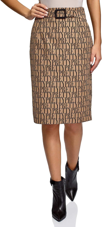 oodji Collection Mujer Falda-Lápiz Estampada
