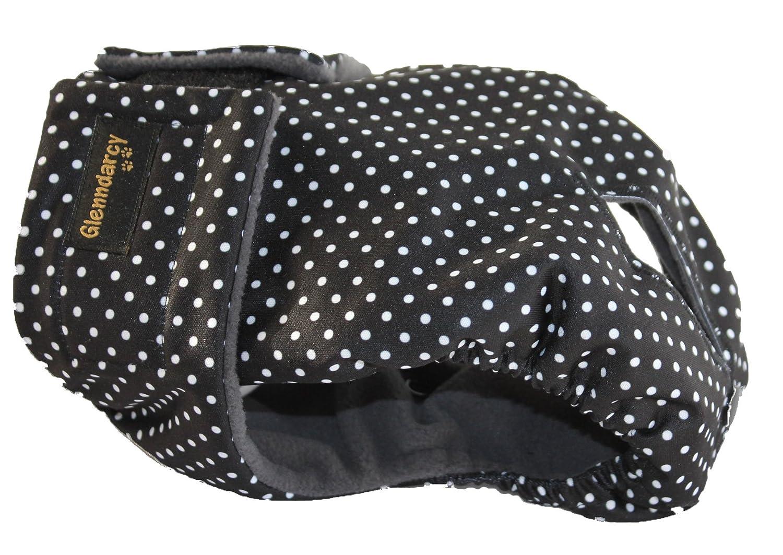 Protection pour chienne en chaleur, disponible en toutes les tailles, modèle en couleur noir à pois Glenndarcy Dog Pants