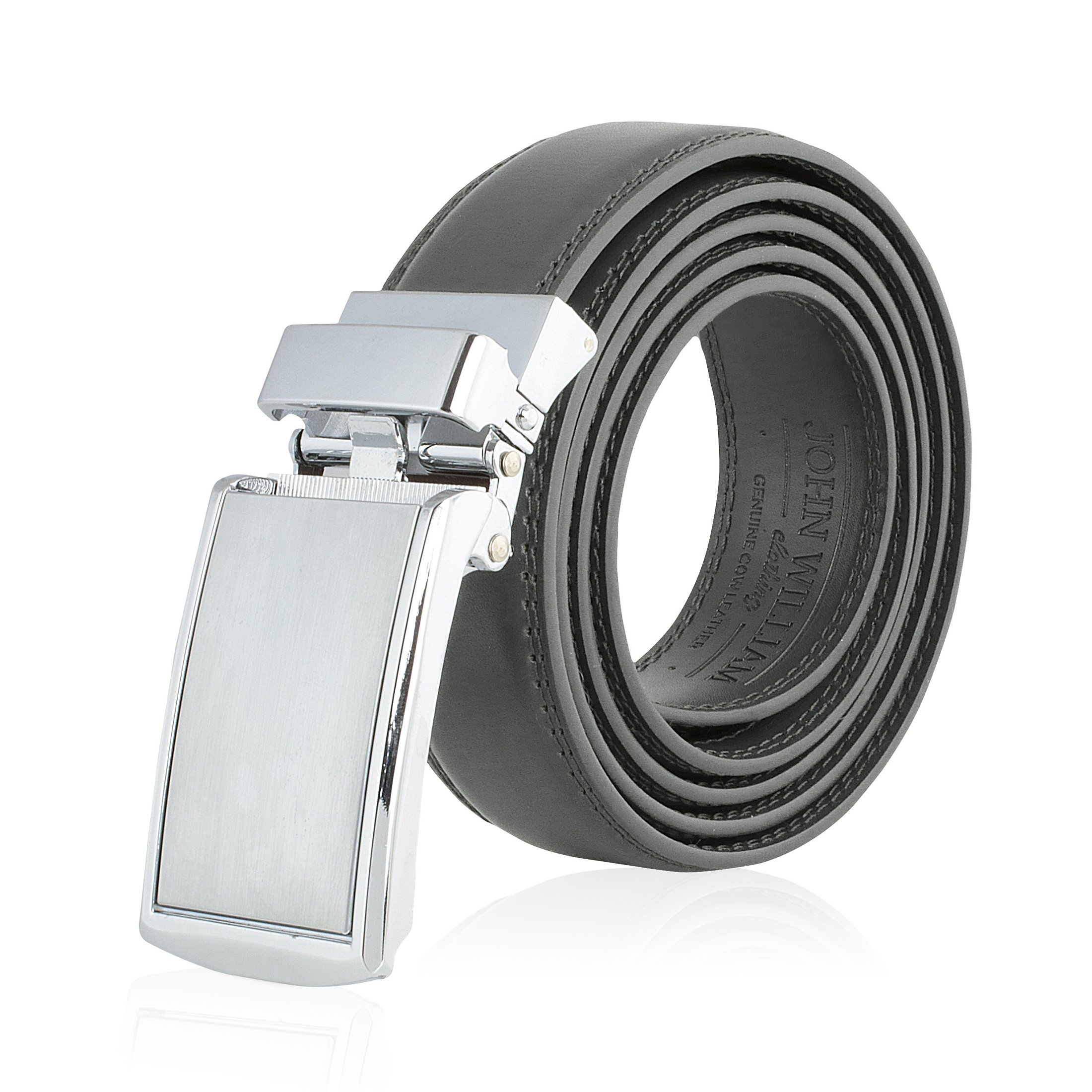 Men's Genuine Leather Ratchet Belt: Stainless Steel Buckle Dress Golf Belts for Men Business, Formal & Casual Wear - Grey/Gray