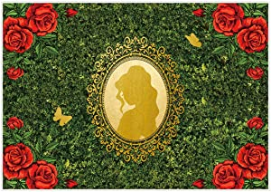 Allenjoy 7x5ft Royal Princess Garden Backdrop for Girs Birthday Wall Decorations Golden Mirror Red Rose Butterfly Wonderland Background Tea Party Banner Baby Shower Photo Booth