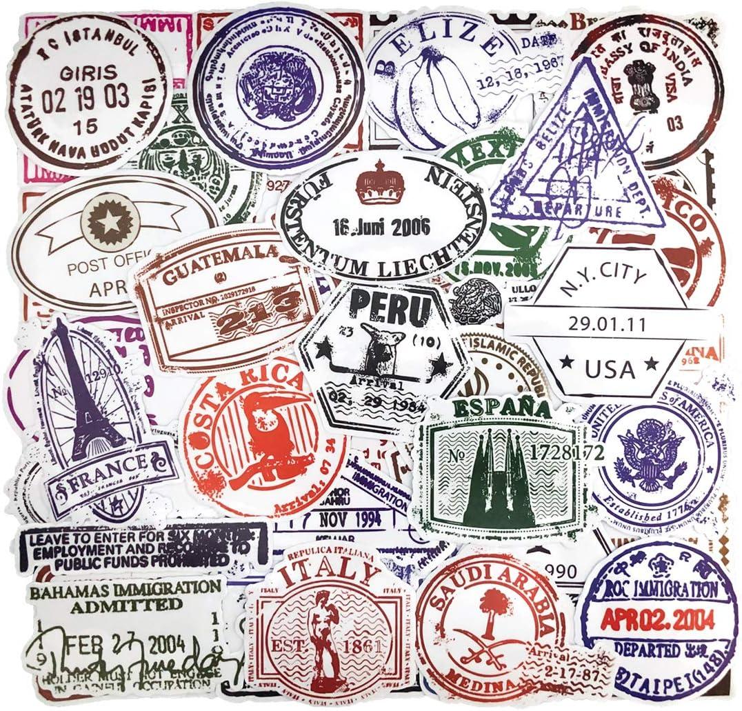 Retro Stamp Postmark Theme Stickers (50 Pcs) Vintage Travel Immigration Stickers PVC Waterproof Vinyl Stickers for Luggage, Travel case, Suitcase, Water Bottle, Laptop, Helmet, Motorbikes, Skateboard