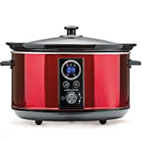 Andrew James Digital Slow Cooker with Timer | Red | Removable Bowl & Glass Lid