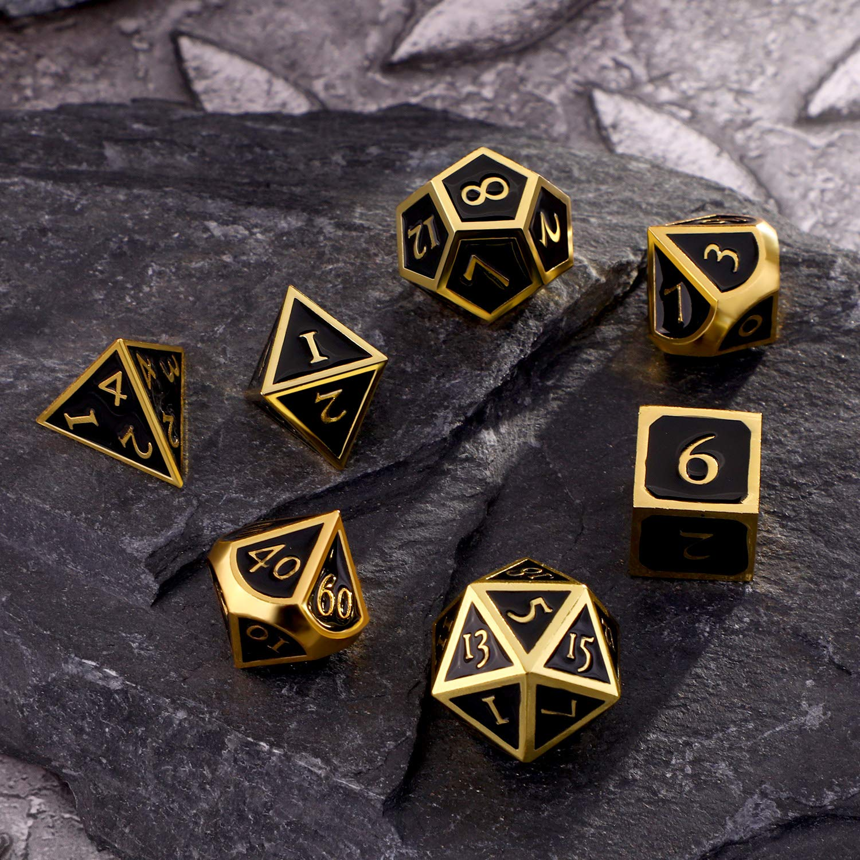 Bronze Hestya 7 Pi/èces D/és en M/étal Set DND Jeu Polyhedral en M/étal Solide D/&D D/és Set avec Sac de Rangement et Alliage de Zinc avec Enamel