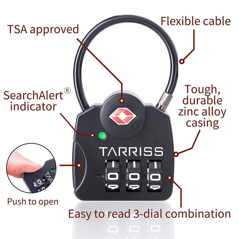 Tarriss TSA Lock with SearchAlert 2 Pack Blue