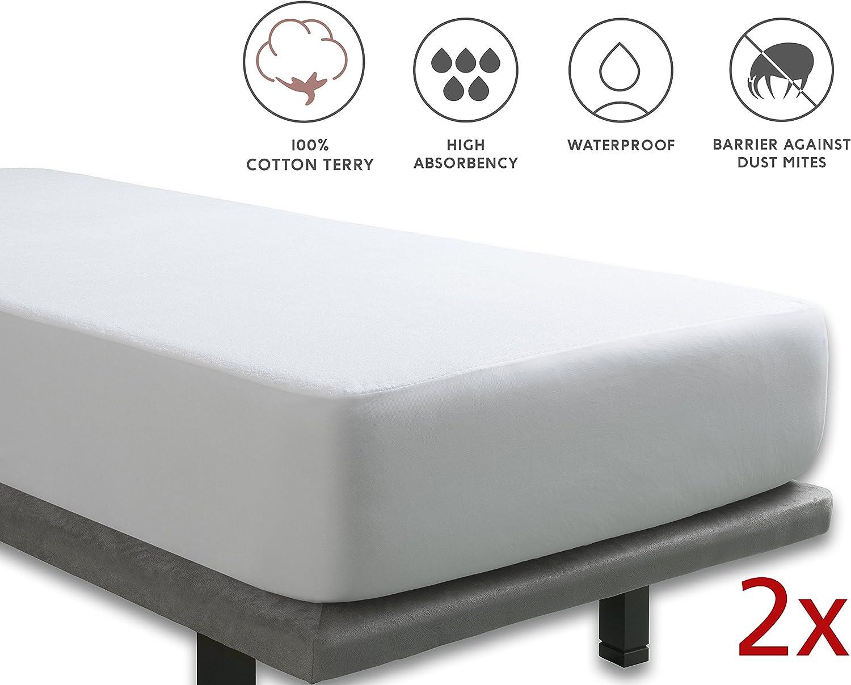 Tural Coppia di Coprimaterasso Impermeabile Proteggi Materasso Impermeabile 2 unit/à di 90x190//200 cm Spugna 100/% Cotone