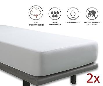 Tural - Protector de colchón Impermeable. Rizo 100% Algodón. Pack 2 uds. Talla 90x200cm: Amazon.es: Hogar