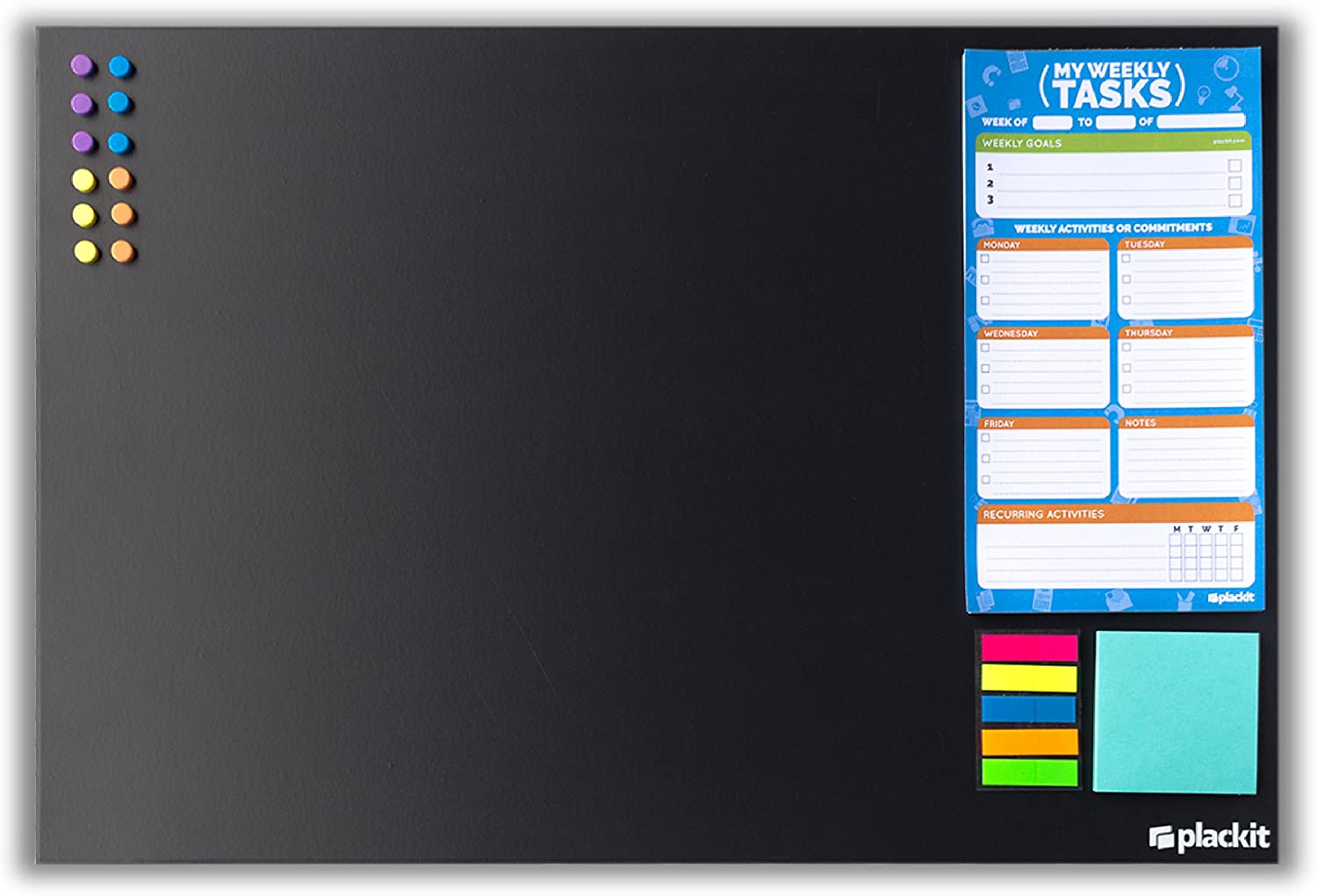 """Plackit - Office Command Center Kit Planner (23.6"""" x 15.7"""") - Magnetic Borderless Chalkboard, Magnetic Weekly Tasks Notepad, Magnetic Sticky Notes, Magnets"""