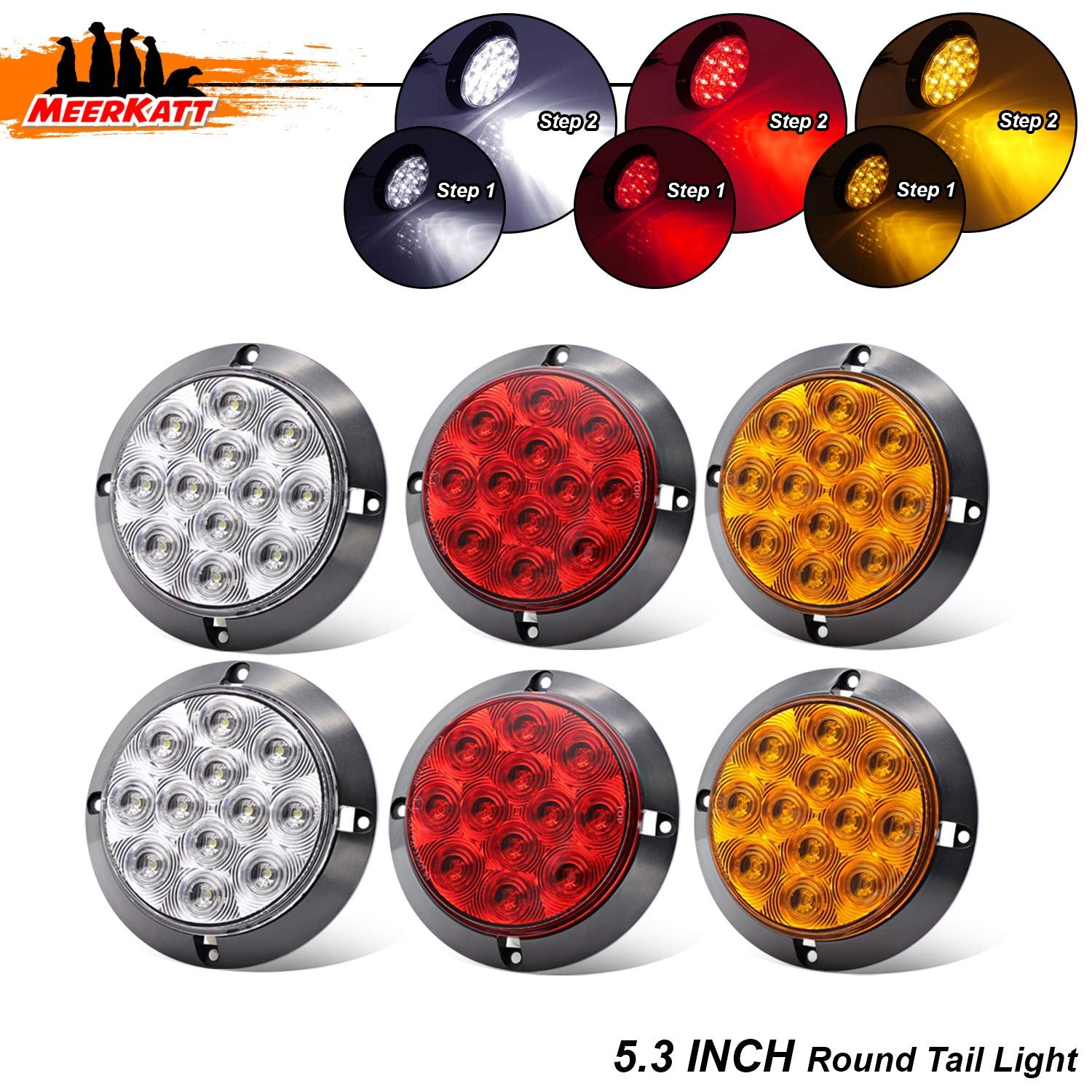 Meerkatt (Pack of 6) 4 Inch 2 Amber + 2 Red + 2 White LED 12 Diodes Round Trailer Marker Utility Light Tail Turn Signal Brake Rear Truck Bus Tow Lorry Tractor Jeep RV Camper 12V DC Clearance Lamp GK12 by Meerkatt
