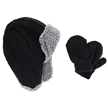 3f9369def09 Image Unavailable. Image not available for. Color  CTM Infant Boy s 0-2  Trapper Hat with Sherpa Lining and Mitten Set ...
