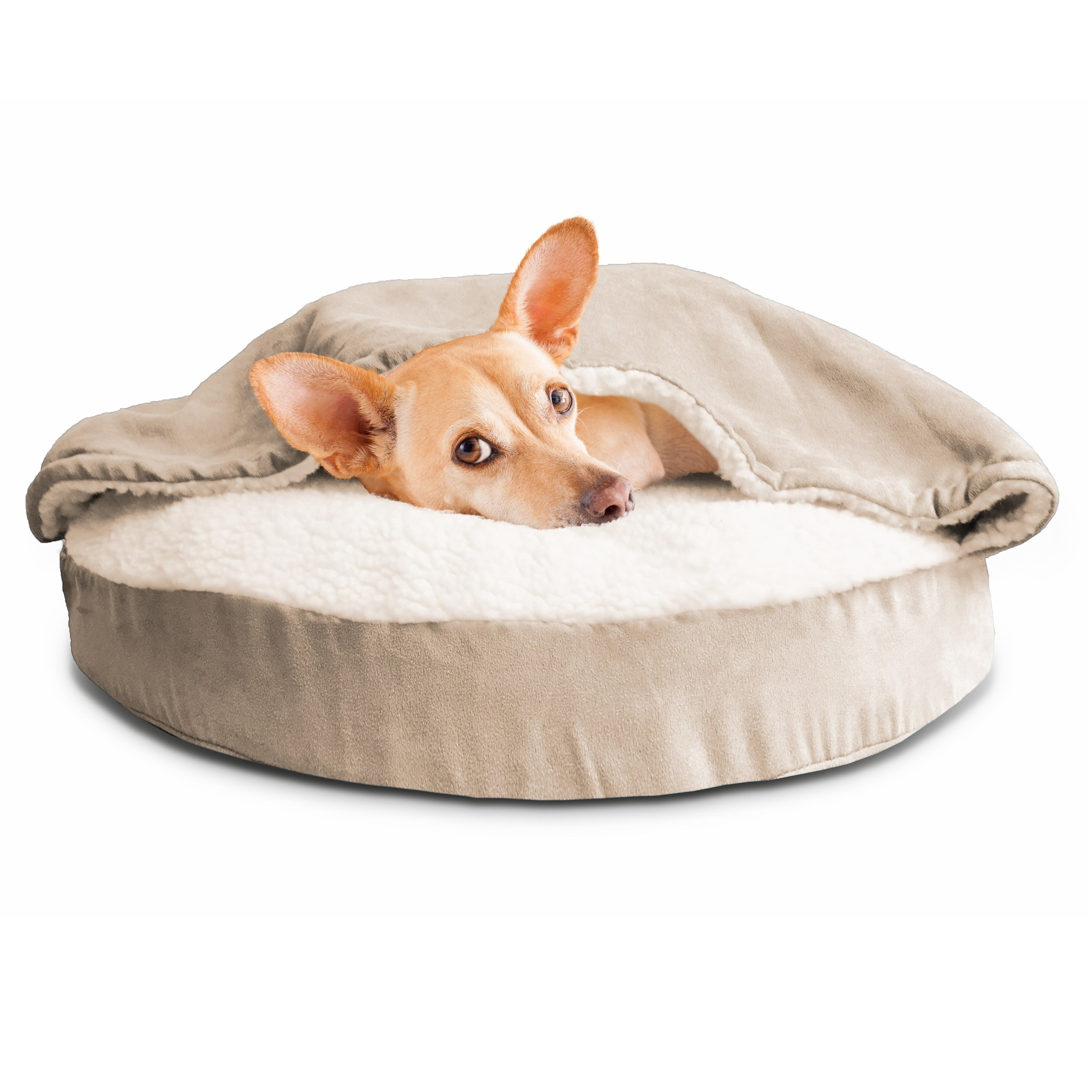 FurHaven Round Snuggery Burrow Pet Bed Cream 26