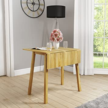 New Haven Drop Leaf Space Saving Dining Table Light Oak Amazon Co