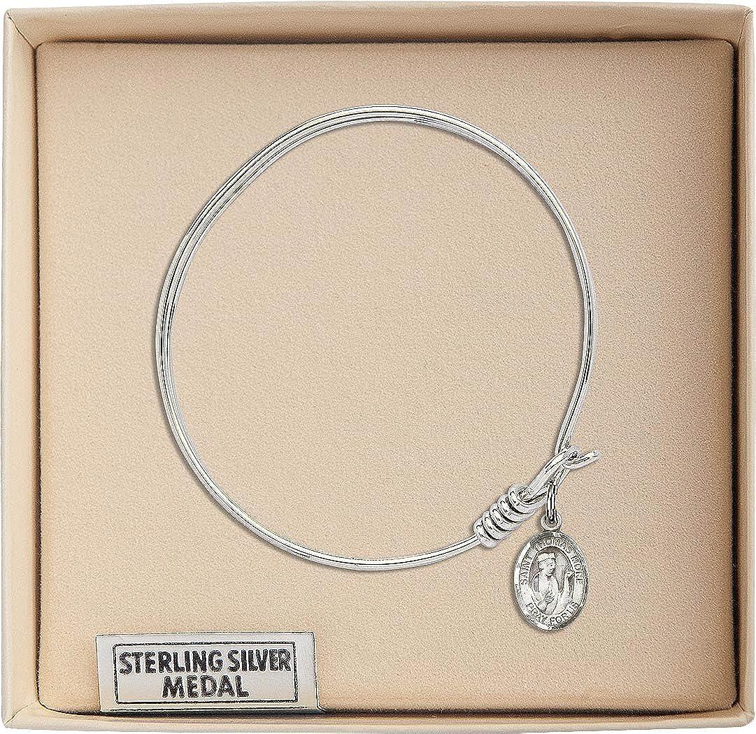 Thomas More in Sterling Silver Bonyak Jewelry Round Eye Hook Bangle Bracelet w//St