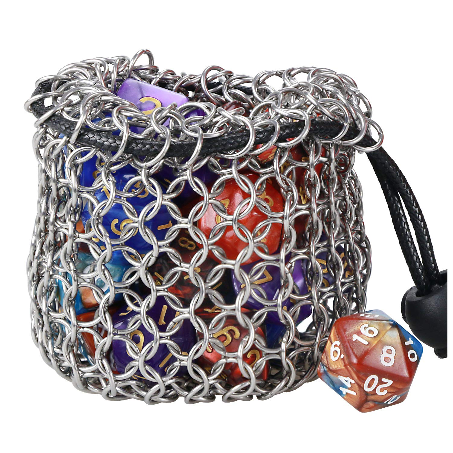 YOUSHARES Drawstring Game Dice Bag - Stainless Steel Chainmail DND Dice Pouch for Metal Polyhedral D&D Dice Set, Coin by YOUSHARES