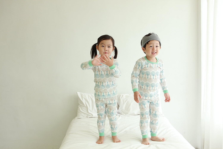 OllCHAENGi Little Boys Girls Kids Cotton Pajama Sleepwear Set Long Sleeve 18M-12Y Snow Tree Mint 120