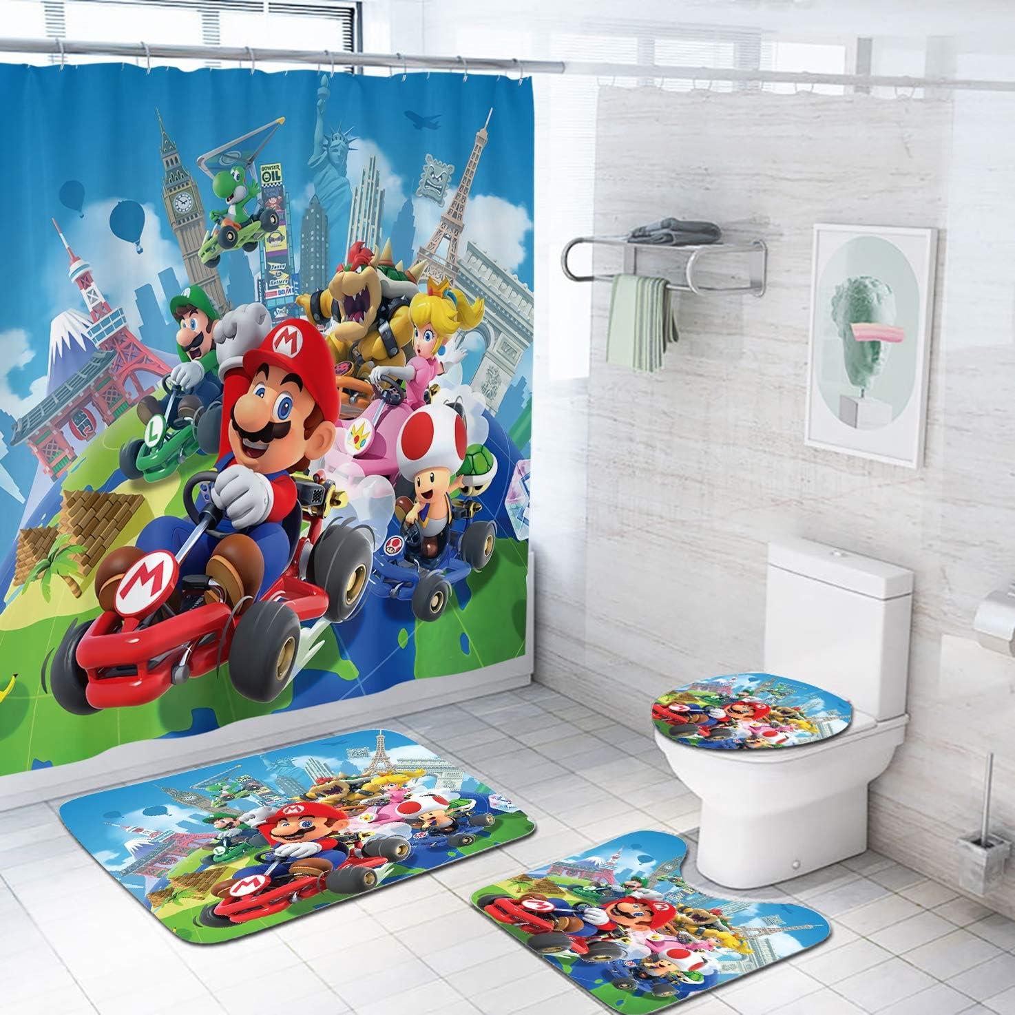 Coxila Super Mario Shower Curtain Sets Bath Mat 4 Pcs Decor Bathroom Cartoon Kids Funny Travel Contour Mat Toilet Lid Cover U Shaped Non-Slip Rug Fabric Polyester 60x72 Inch