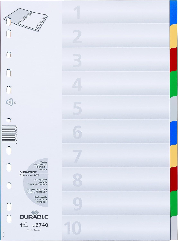 Perforations Universelles Polypro 120 Microns 5 Couleurs Lot d e25 Durable 674027 Intercalaires Format A4 10 Touches Neutres Page de Garde