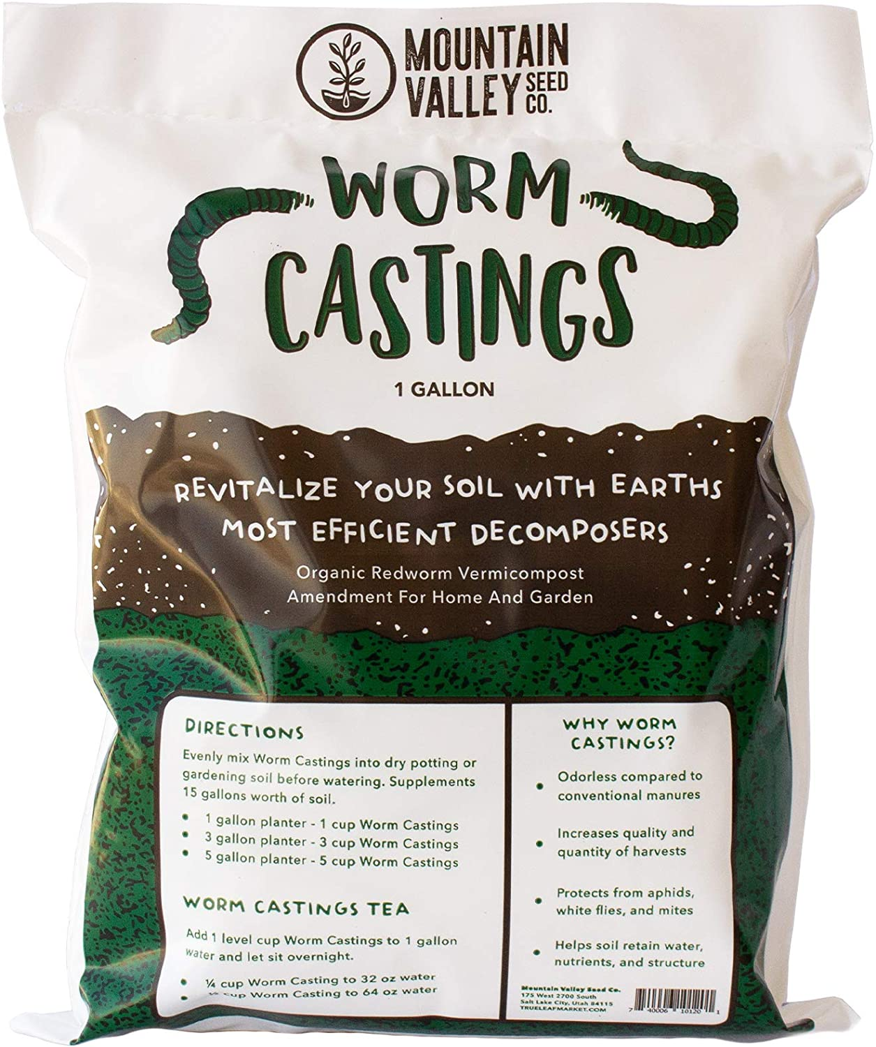 Earth Worm Castings – Organic Red Worm Compost Soil Amendment - .13 Cubic Foot ~6 Lbs - Approximately 1 Gallon - Organic Red Worm Vermiculture and Compost Home, Garden, Greenhouse, and Farm